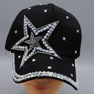 NWT Bling Star Hat Pearls Black